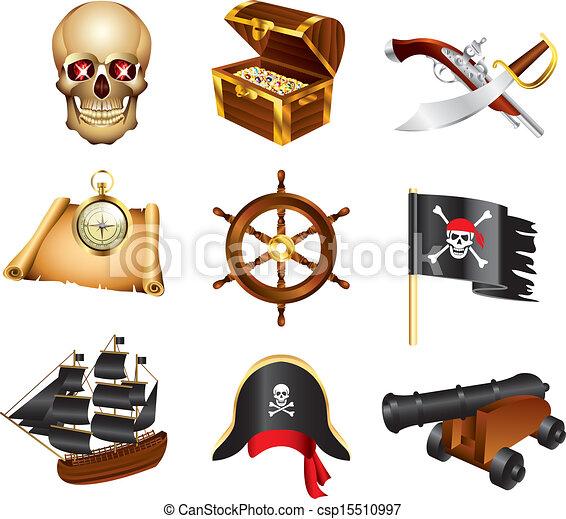 vettore, set, pirati, icone - csp15510997