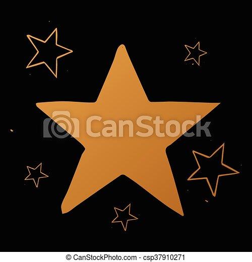 vettore, set, stelle, oro, stelle, sfondo nero - csp37910271