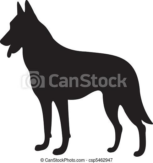 vettore, silhouette, cane - csp5462947