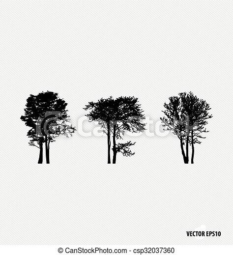vettore, silhouettes., set, albero, illustration. - csp32037360