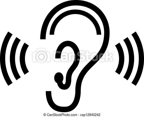vettore, simbolo, orecchio - csp12840242