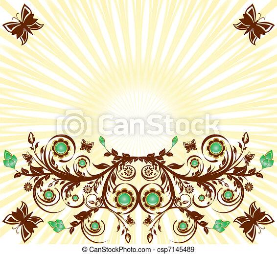vettore, sole, floreale, fondo, ornamento, farfalle, illustrazione - csp7145489