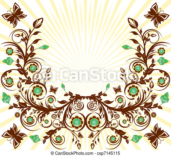 vettore, sole, floreale, fondo, ornamento, farfalle, illustrazione - csp7145115