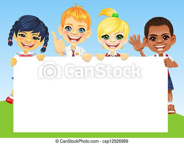 vettore, sorriso, bambini, bandiera, felice - csp12926989