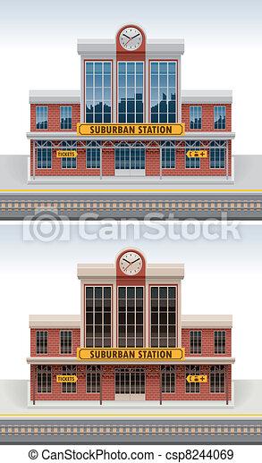 vettore, stazione ferroviaria, icona - csp8244069