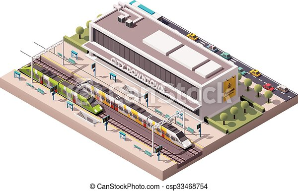 vettore, stazione, isometrico, treno - csp33468754