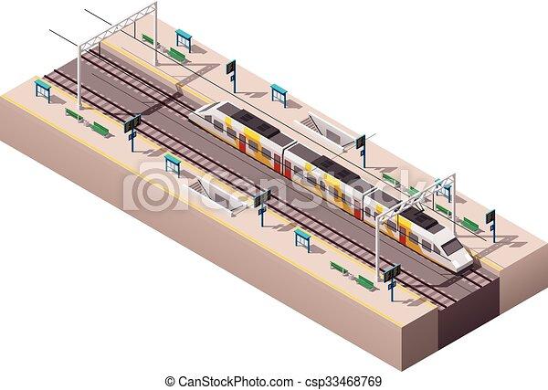 vettore, stazione, isometrico, treno - csp33468769