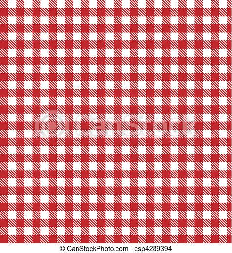 vettore, stoffa, checkered, picnic, rosso - csp4289394