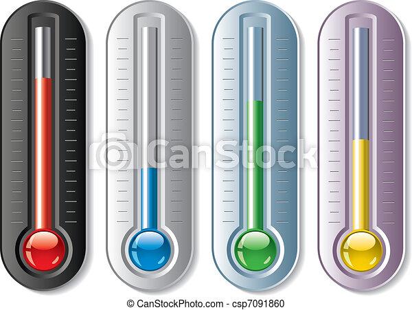 vettore, termometri, set - csp7091860