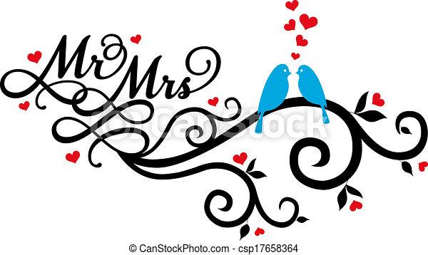 vettore, uccelli, signora, matrimonio, sig. - csp17658364