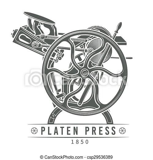 vettore, vecchio, illustration., letterpress, vendemmia, rullo, macchina, torchio tipografico, logotipo, design. - csp29536389