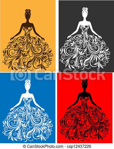 vettore, vestire, donna, silhouette, giovane - csp12437226