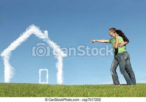 vevő, fogalom, épület, kölcsönad, jelzálog, új családi - csp7017202