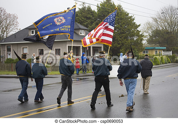 VFW Color Guard Marching on a Foggy Day - csp0690053