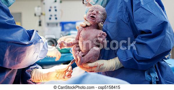 via, être, césarienne, né, bébé, section - csp5158415
