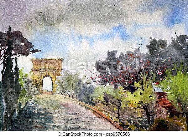 via, pintado, tito, watercolor., romana, cityscape, arco, sacra - csp9570566