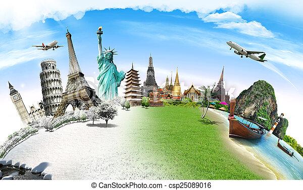viagem mundial, conceito, monumento - csp25089016