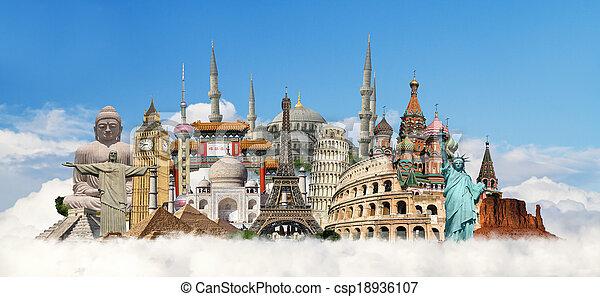 viagem mundial, conceito, monumentos - csp18936107