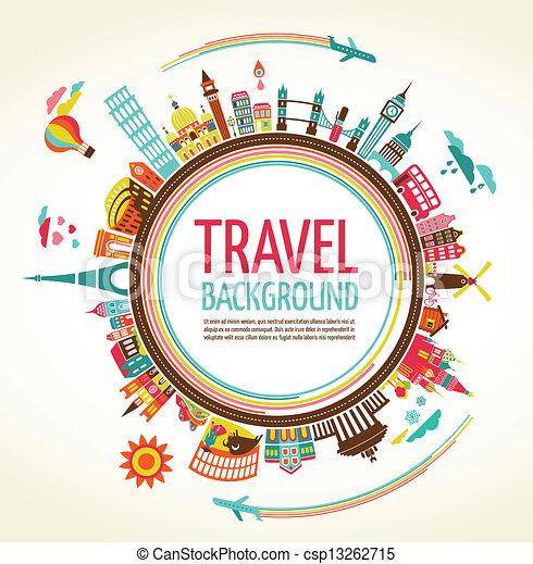 viagem, vetorial, turismo, fundo - csp13262715