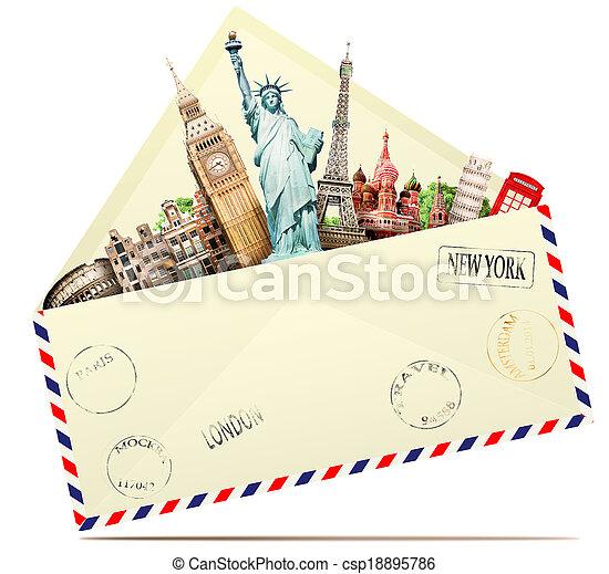 viaggiare, busta - csp18895786