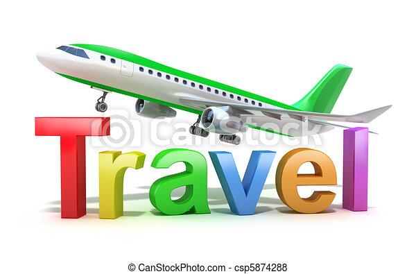 viaggiare, concetto, parola, aereo - csp5874288