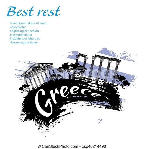viaggiare, grunge, stile, grecia - csp48214490