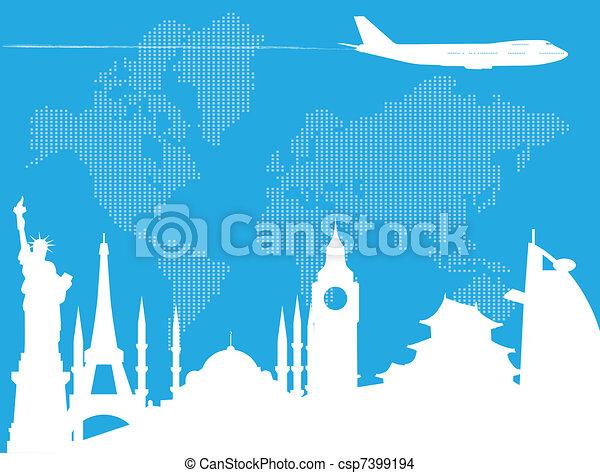 viaggiare, mondo, intorno - csp7399194