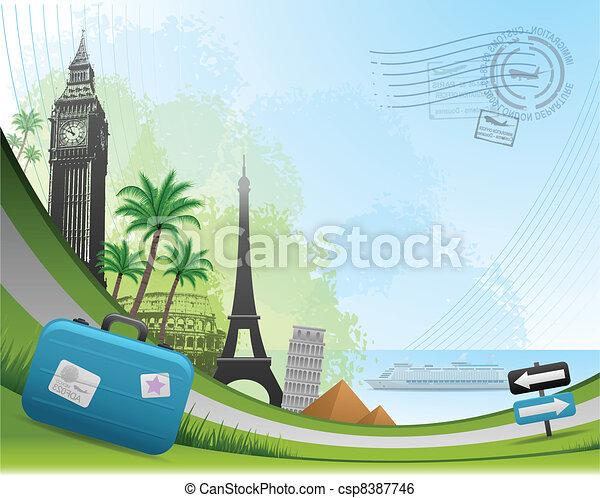 viaggiare, postale, scheda, fondo - csp8387746