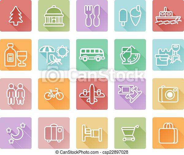 viaggiare turismo, icone - csp22897028