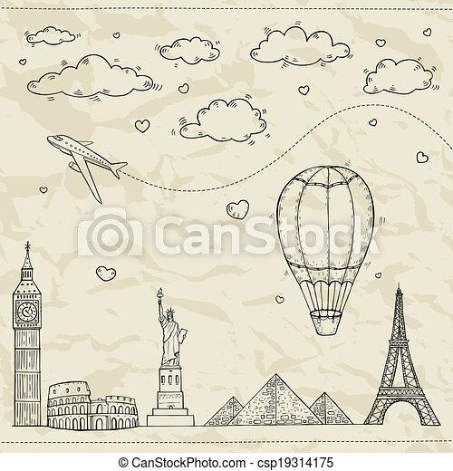 viaggiare turismo, illustration. - csp19314175