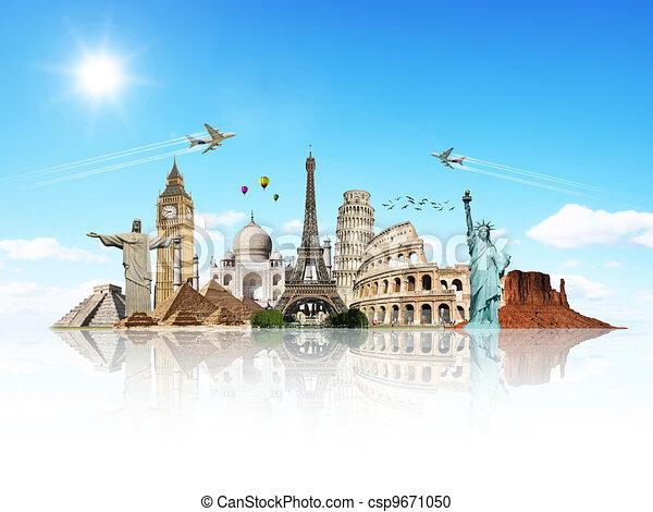viaggio mondo, concetto, monumenti - csp9671050