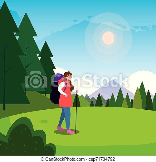 viajante, mulher, natural, hiking, paisagem - csp71734792