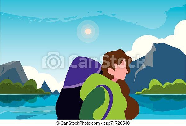 viajante, mulher, natural, hiking, paisagem - csp71720540