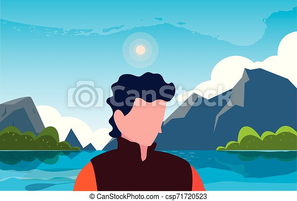 viajante, natural, hiking, paisagem, homem - csp71720523