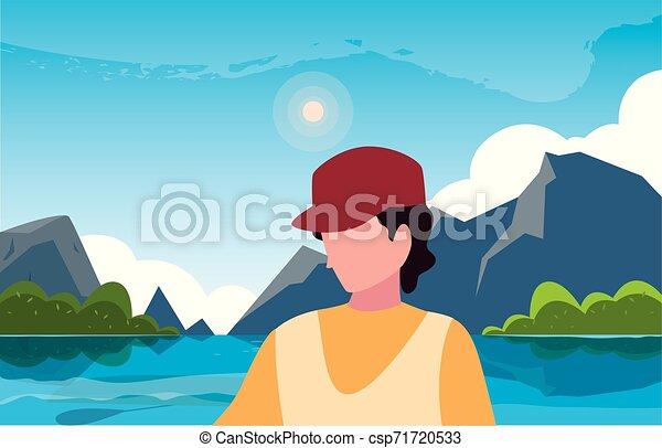 viajante, natural, hiking, paisagem, homem - csp71720533