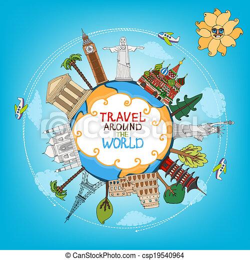 viajar de mundo, monumentos, señales, alrededor - csp19540964