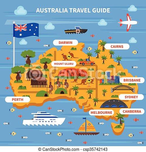 Viaje australia gu a ilustraci n mapa australia plano vector eps buscar im genes de - Australia tourism bureau ...