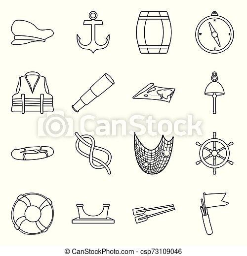 Ilustración de vectores de océano y icono de viaje. Un set de océano y una ilustración de vectores de viaje. - csp73109046