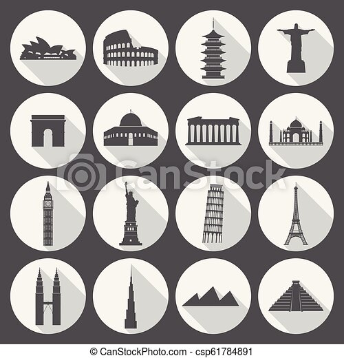 Marcas de viaje icono establecido - csp61784891