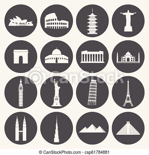 Marcas de viaje icono establecido - csp61784881