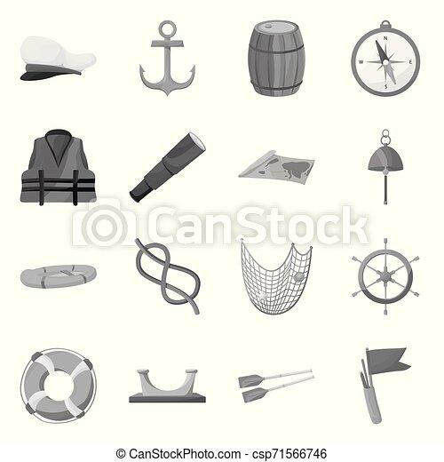 Ilustración de vectores de logo de navegación y navegación. Un conjunto de iconos vectoriales náuticos y marinos para acciones. - csp71566746