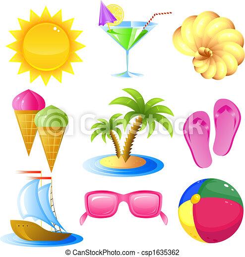 Vacaciones y iconos de viaje - csp1635362