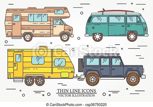 Autobús turístico, todoterreno, caravana, caravana de caravanas, camión de viajeros. El concepto de viaje familiar de verano. Un icono de línea fina. Ilustración de vectores. - csp36750220