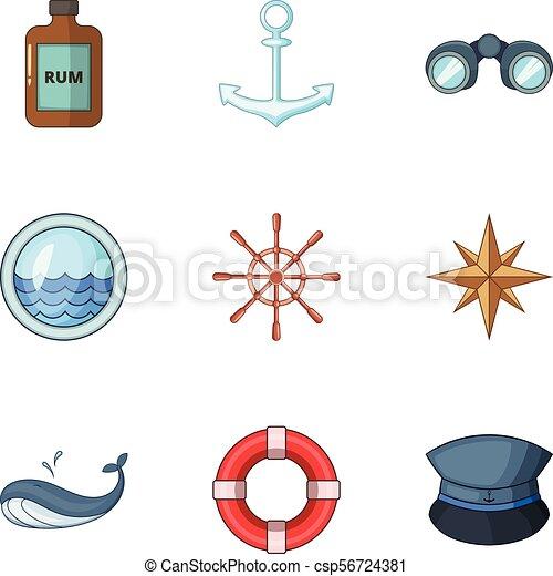 Íconos de viaje en el mar, estilo de dibujos animados - csp56724381