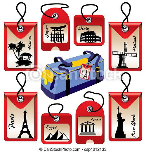 Etiquetas de viaje - csp4012133
