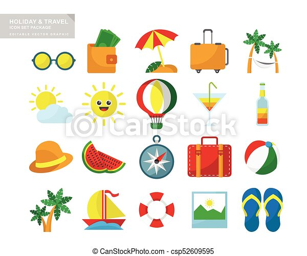 Un paquete de iconos de viaje de vacaciones - csp52609595