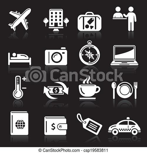 iconos de viaje en el fondo negro - csp19583811