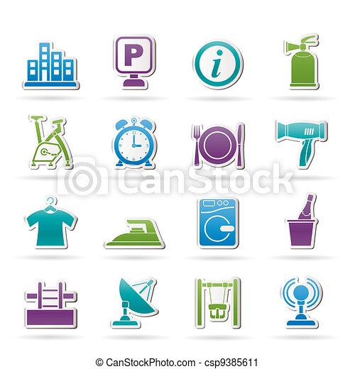 Hotel y iconos de viaje - csp9385611