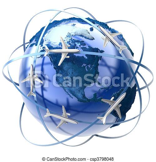 Viaje aéreo internacional - csp3798048