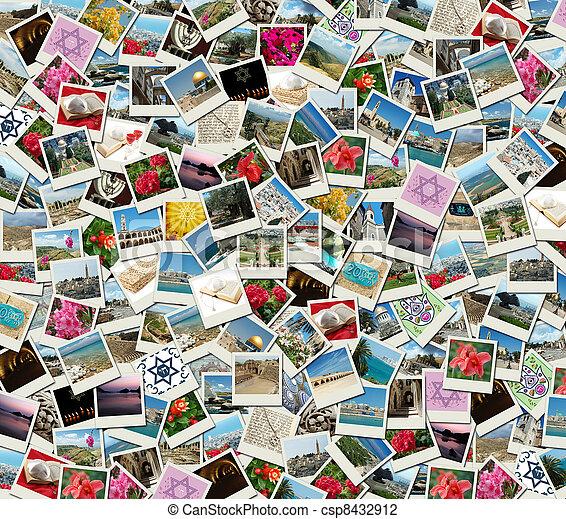 Un fondo hecho de fotos de viaje de Israel - csp8432912